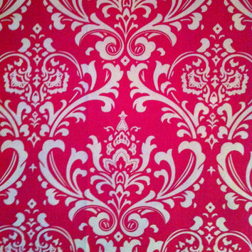 Decorative-Accent Body Pillow Cover - Approx 20 X 54 inch Traditions White on Candy Pink Damask-Free Domestic Shipping