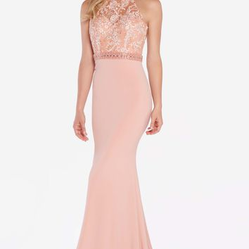 Alyce 60024 Strappy Back Jersey Halter Dress- Cameo Pink