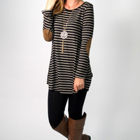 Remmy Striped Tunic with Suede Elbow Patches: Black