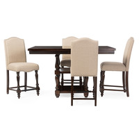 Baxton Studio Zachary Chic French Vintage Oak 5-Piece Square Counter Pub Set (Brown/Beige)