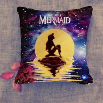 disney princess ariel mermaid in the galaxy pillow case/ Pillow Cover/ 16 x 16/ 18 x 18/ 16 x 24/ 20 x 30/ 20 x 36