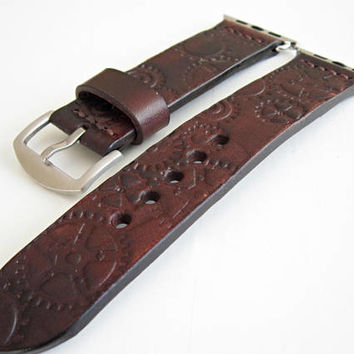 Steampunk Watch Strap For Apple Watch, 24 mm Apple Leather Strap