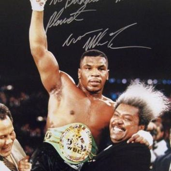 ONETOW Mike Tyson Signed Autographed 'The Baddest Man On The Planet' Glossy 16x20 Photo (ASI COA)