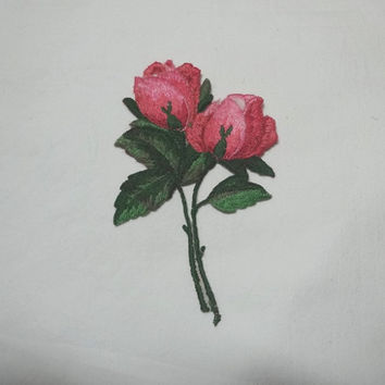 1960s Vintage Rose Embroidered Stitch On Applique, Pink & Green , 4.75 x 3.5 inches, Home Sewing Notion, Jacket Applique, Craft Sew On Trim