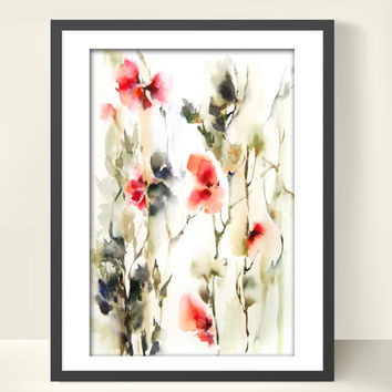 Abstract Flowers Watercolor Painting Art Print 12x18 Green Red Abstract Floral Modern Wall Art
