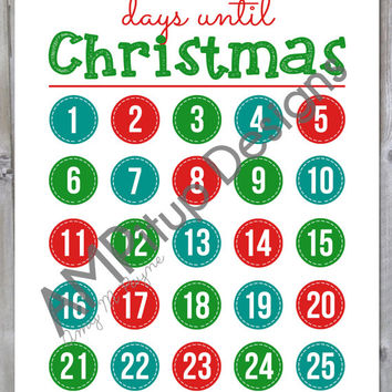 Christmas Countdown Calender - Advent Calendar Instant Download Print