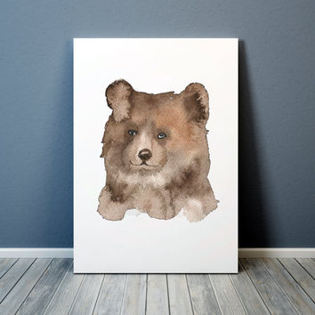Watercolor art print Cute bear poster Nursery decor ACW33