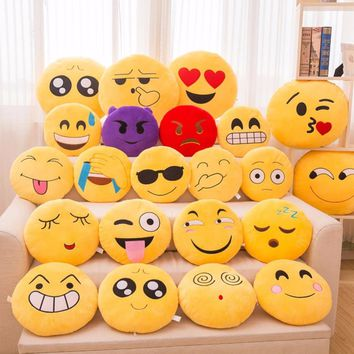 15 CM Soft Emoji Yellow Round Cushion Emoticon Stuffed Plush Toy Smiley Pillow Birthday Gift For Friend #253729