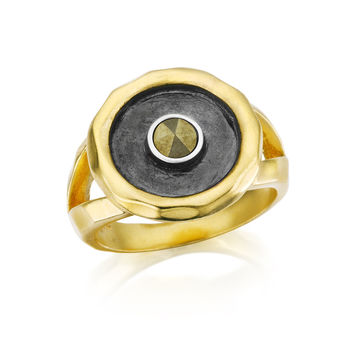 Gunmetal And Gold Pyrite Sun Ring - Helios
