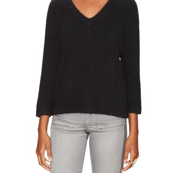 Maje Women's 3/4 Sleeve V-Neck Sweater - Black -