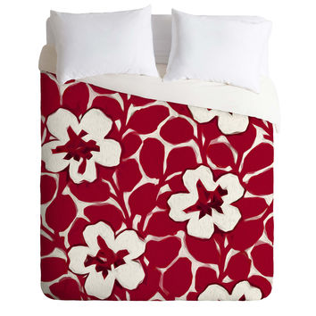 Jacqueline Maldonado Painted Floral Red Duvet Cover