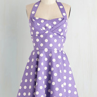 Pastel Short Length Halter Fit & Flare Traveling Cupcake Truck Dress in Violet