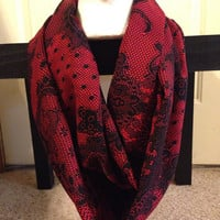 Red Paisley Infinity Scarf-Women's Scarf