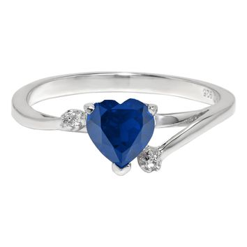 1.00 Ct Heart Blue Sapphire and White Topaz 925 Sterling Silver Ring