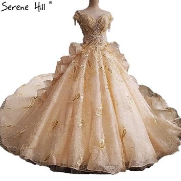 Fashion Luxury Sexy Bridal Wedding Dresses Pearls Sequined Lace Train High-end Wedding Gowns