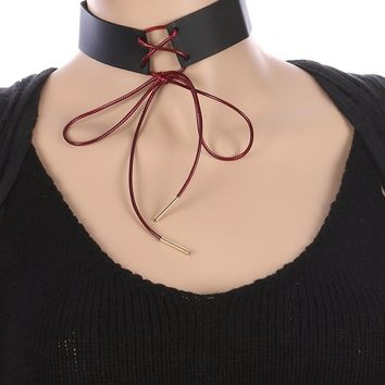 Black and Red Tie Leather Choker