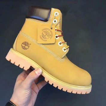 Timberland Rhubarb Boots Trending Men Women Shoes Waterproof Martin Boots Lovers Shoe Yellow I