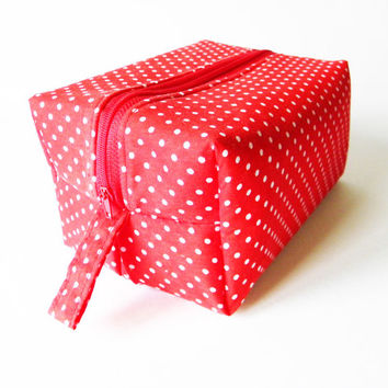 Red Polka Dot Box Bag,Cosmetic Bag,Makeup Bag,Toiletry Bag,Lunch Bag,Knitting Bag,Diaper Bag Gift For Her,Girls,Women,Ladies,Mothers