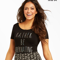 Aeropostale  Hibernating Bodycon Tee - Black, X-Small