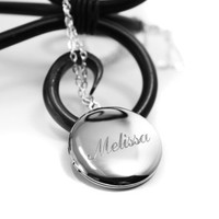 NOW ENGRAVED Personalized Round Locket Necklace. Silver Custom Name Necklace, Free Engraving