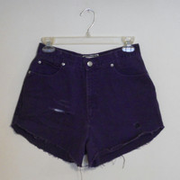 High Waisted Shorts Purple Jean Denim Vintage 90s Highwaisted Distressed Destroyed Cutoffs Cut Off Size 27 / 7 / 8