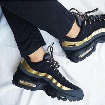 Tagre NIKE Air max Sneakers Running Sports Shoes Black+golden H-CSXY