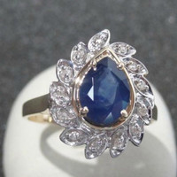 Vintage Fine Estate Blue Sapphire Diamond Cocktail Ring 14k Gold Engagement Ring Alternative Unique Dinner Ring Right Hand Statement Ring