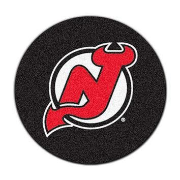 NHL New Jersey Devils Hockey Puck Shaped Accent Rug