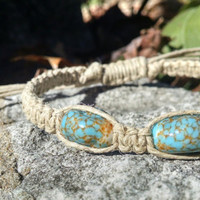 Adjustable Glass Turquoise Beaded Hemp Bracelet