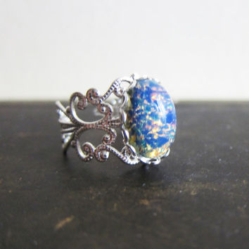 Fire Opal Ring Ombre Blue Opal Ring Vintage Style Filigree Silver Ring Gift Friendship Whimsical Fantasy Magic Fairy Tale Elf Fantasy Theme