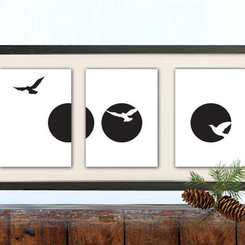 Full Moon Art, Birds Art, Black & white Art, Graphic Poster, Living Room Art Print, Geometric Art, Minimalist art,Dorm Decor,Set of 3 prints