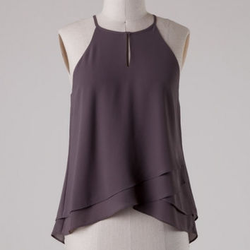Layered Hem Flowy Tank Top - Charcoal