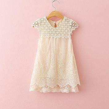 2016 New Girls Summer Evening Dress Children Hollow Out Lace Princess Dress Baby Girl O-Neck Party Dresses Kids Fashion Clothes