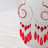 Unique Large Red Statement Earrings, sterling silver chandelier earrings, long coral red dangle, bright bohemian boho dreamcatcher earrings