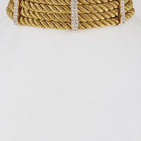 """12"""" gold crystal twisted rope wide collar bib choker necklace chunky"""