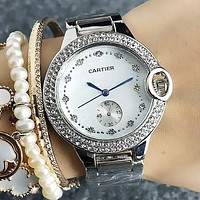 "Hot Sale ""Cartier"" Stylish Ladies Men Delicate Shiny Diamond Quartz Watches Business Wristwatch Silvery"