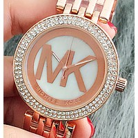 MK Fashionable large dial women watch alloy decorative watch leisure ladies watch Rose gold