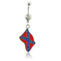 Fashion Belly Button Rings 316L Stainless Steel Dangle Flag Navel Body Piercing Jewelry