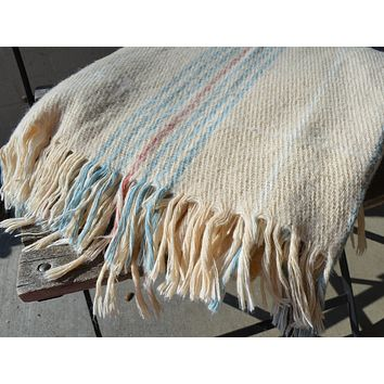 Vintage Plaid Acrylic or Wool (?) Fringed Blanket Stadium Throw or Table Cloth Cream Robins Egg Blue