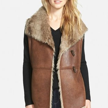 Women's Ellen Tracy Toggle Closure Faux Shearling Vest,