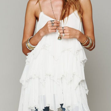 White Spaghetti Strap Ruffle Mini Dress