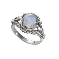 Antiqued Sterling Rainbow Moonstone Ring           - New Age, Spiritual Gifts, Yoga, Wicca, Gothic, Reiki, Celtic, Crystal, Tarot at Pyramid Collection