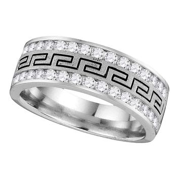14kt White Gold Men's Round Diamond Grecco Wedding Band Ring 1/4 Cttw - FREE Shipping (US/CAN)