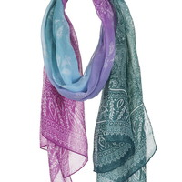 Ombre Paisley Print Scarf
