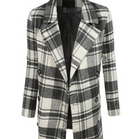 LE3NO Womens Oversized Double Breasted Plaid Pea Coat Jacket (CLEARANCE)