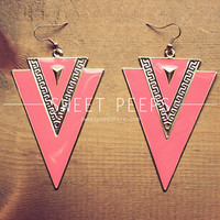S U M M E R Coral Geometric Earrings