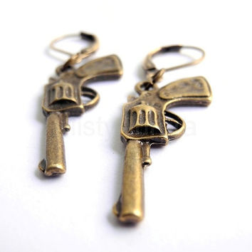 Pistol Gun Earrings Antique Bronze The Walking Dead by MistyAurora