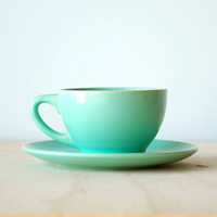Seafoam Green Catalina Pottery Teacup and Saucer Catalina Island Avalon Gladding McBean
