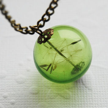 Dandelion Necklace Green Real Dandelion by NaturalPrettyThings