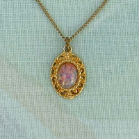 Delicate Faux Opal Pendant Necklace Fire Pink Blue Colors Vintage Necklace